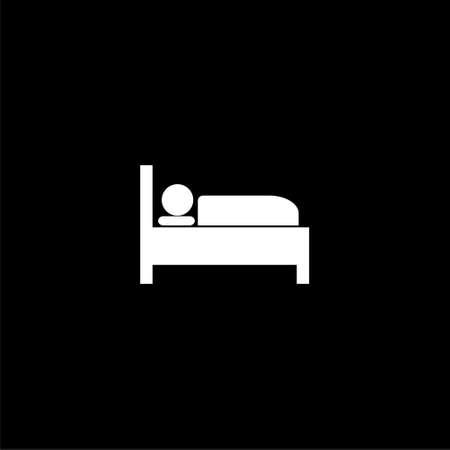 Illustration pour Hospital bed icon or logo, bed icon symbol sleep night hotel motel on dark background - image libre de droit