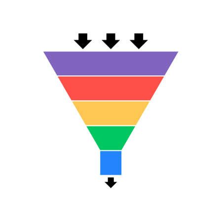 Illustration pour Sales lead funnel flat icon with arrows - image libre de droit