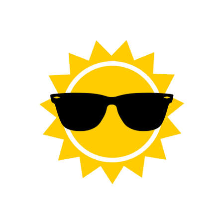 Illustration for Sunglasses and sun icon, sign or logo - Royalty Free Image