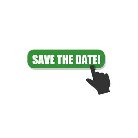 Illustration pour Green Save the date! sign icon - image libre de droit