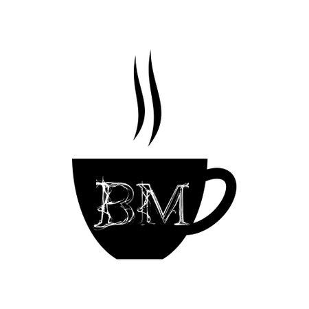 Illustration pour BM Initial Coffee or tea icon - image libre de droit