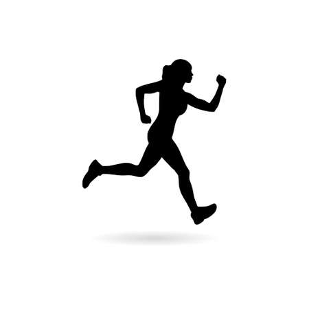 Photo for Healthy running. Silhouette healthy runner. Abstract running woman - Royalty Free Image
