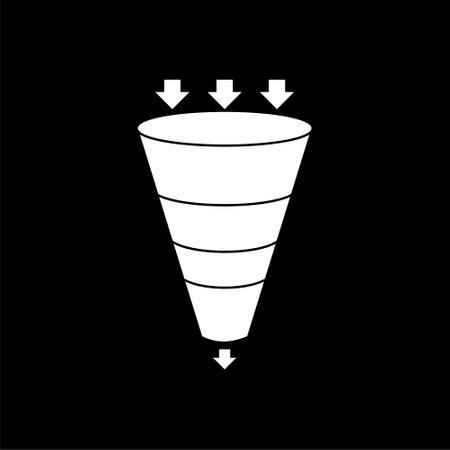 Illustration pour Sales funnel business concept of leads prospects isolated on black background - image libre de droit
