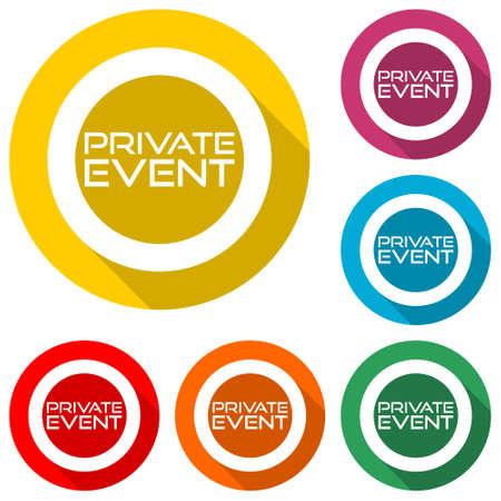 Illustration pour Private Event icon with long shadow - image libre de droit