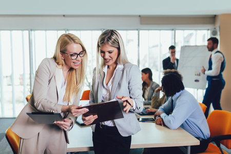 Photo for Business team of women with tablet pc computer at office. Selective focus. - Royalty Free Image