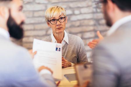 Foto de Job applicants having interview in modern office - Imagen libre de derechos