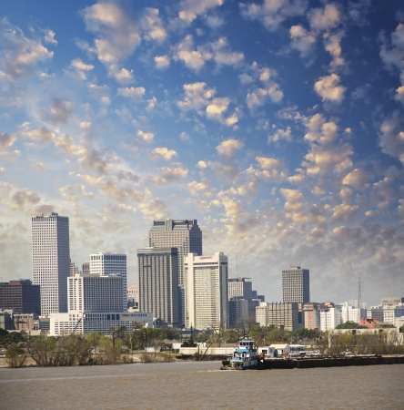 New Orleans Louisiana. Mississippi river and beautiful city skyline at sunset.