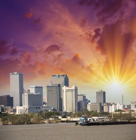 Sunset Over New Orleans River Skyline