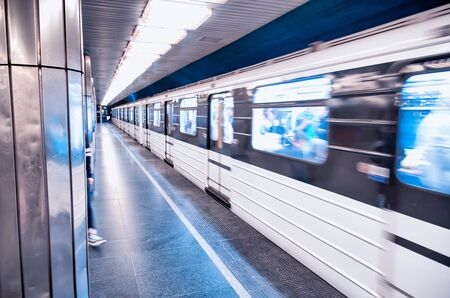 Train in Budapest city subway, Hungary.