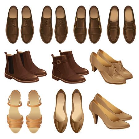 Illustration pour illustration of classic shoe style. Set of man leather brown shoes and woman leather black shoes. Pair of black formal shoes for business man. Monk shoes, loafer shoes - image libre de droit