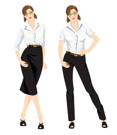 2415af767d Vector illustration of corporate dress code. Business woman or professor in  formal white blouse,