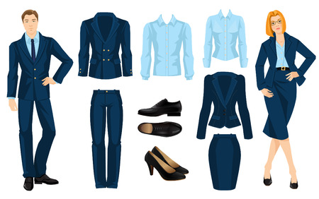illustration of corporate dress code. Office uniform. Clothes for business people. Secretary or professor in official blue formal suit. Woman in glasses. Pair of black formal shoes.