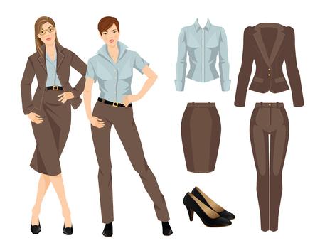 Illustration pour Vector illustration of business girl or professor in formal clothes. Brown suit and black shoes - image libre de droit
