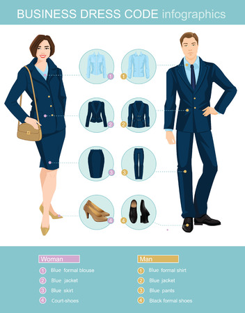 Illustration pour Business dress code infographics. Man and woman in blue suit isolated on white background. Vector illustration of people in formal clothes and shoes. - image libre de droit