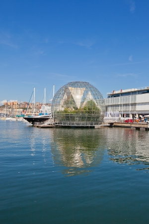 Glass Bubble building  La Bolla; Biosphere    Hosts different type of ferns and some tropical animals   Designed by architect Renzo Piano on the occasion of G8 Meeting hold in Genoa on July 2001  Famous landmark of Genoa, Italy