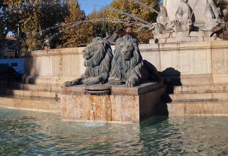 Sculptures of lions  part of the Fountain Rotonde, circa 1860   Architect Theophile de Tournadre  Aix-en-Provence, France