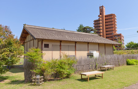 MATSUYAMA, JAPAN - MAY 21, 2015: Second of two reconstructed samurai houses (Buke Yashiki) on the grounds of former Yuzuki castle in Dogo Park of Matsuyama, Shikoku, Japan. Yuzuki castle was erected in 1338, abandoned in XVI c.