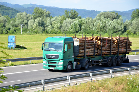Photo for Dolny Hricov, Slovakia - June 29, 2016: Green MAN truck fully laden by wood drives on slovak D1 highway surrounded by rural landscape. - Royalty Free Image