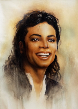 A portrait of smiling Michael Jackson in airbrush