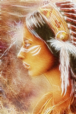 Indian woman spirit vision fractal work with airbrush painting
