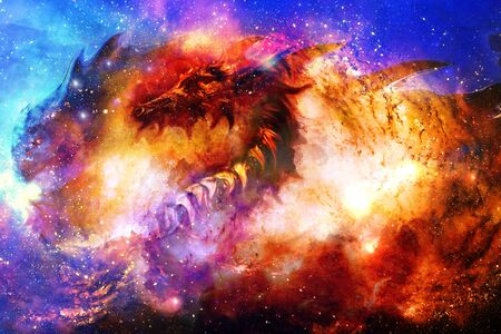 Foto de Cosmic dragon in space, cosmic abstract - Imagen libre de derechos