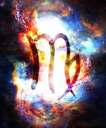 Photo pour Hand drawn horoscope astrology symbols in cosmic space. - image libre de droit