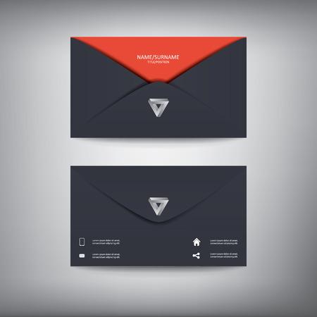 Modern creative business card template in envelope shape, flat design.