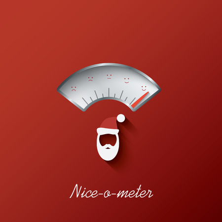 Christmas card with nice-o-meter with nice or naughty gauge. Eps10 vector illustration