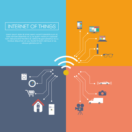 Internet of things concept vector illustration with icons for smart things in household, technology, communication.