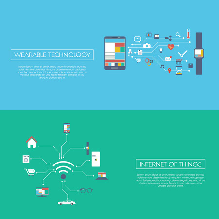 Internet of things concept vector illustration with icons for smart devices in household, technology, communication.