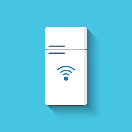 Smart refrigerator or fridge with freezer icon. Smart kitchen appliances. Internet of things concept with wireless connection. Modern flat design, long shadow.