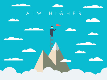 Career or business mission motivation poster, wallpaper, background. Businessman on ladder, mountain top, symbol of success.
