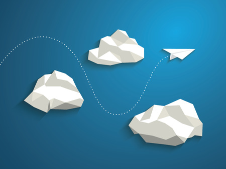 Illustration pour Paper plane flying between clouds. Modern polygonal shapes background, low poly. Business concept design. - image libre de droit