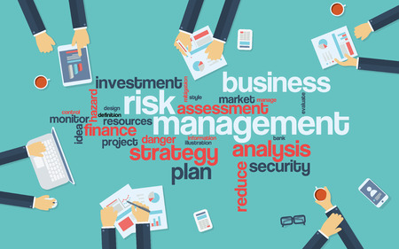 Risk management infographics poster with businessmen working around the word cloud. Analysis and planning keywords. Office objects
