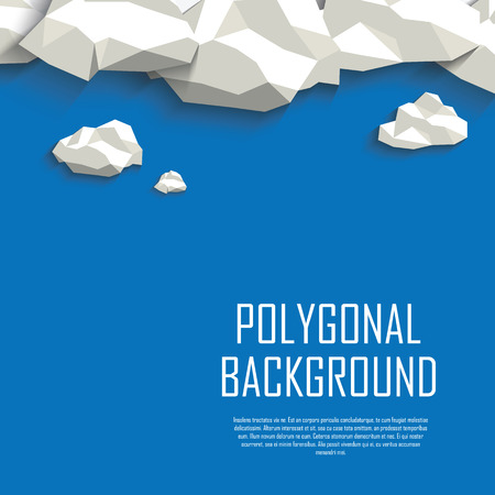 Clouds in the sky polygonal background. Low poly abstract concept with blank space for your text.のイラスト素材