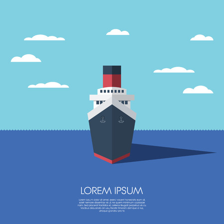 Cruise ship holiday vacation. Modern flat design low polygonal model of a ship.