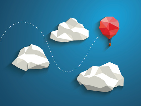 Low poly red balloon flying between polygonal clouds in the sky. Business concept for new projects or traveling.