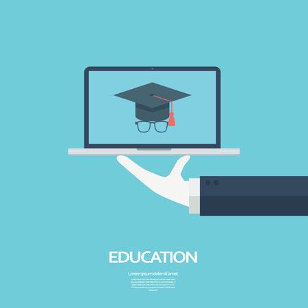 Illustration pour Online education concept. Student icon on laptop. vector illustration. - image libre de droit