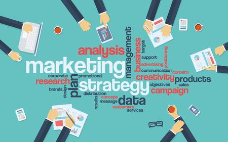 Illustration pour Marketing strategy concept infographics. Word cloud with marketing keywords. Creative team developing branding plan. vector illustration. - image libre de droit