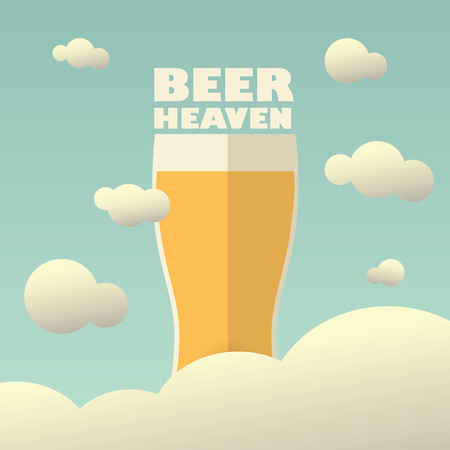 Beer heaven poster with large pint on background. Vintage funny concept for advertising or promotion