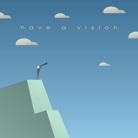 Foto de Business vision concept. Looking at future with binoculars. Simple cartoon, space for text. Eps10 vector illustration. - Imagen libre de derechos