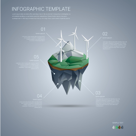 Wind farm on floating island. Renewable energy industry infographics template in modern low poly design. vector illustration.