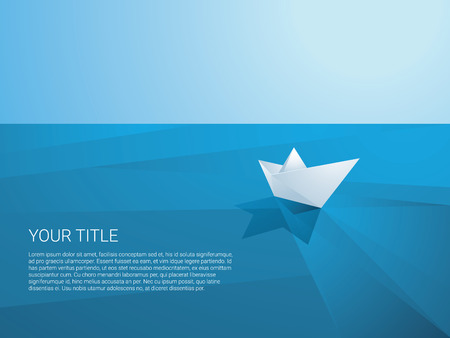 Low poly paper boat sailing away on polygonal sea surface vector background. Origami toy ship as a symbol of discovery, mission, freedom and voyage. Eps10 vector illustration.