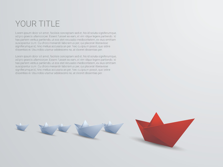 Illustration pour Leadership business concept vector with red paper boat leading white. Presentation template with space for text. Eps10 vector illustration. - image libre de droit
