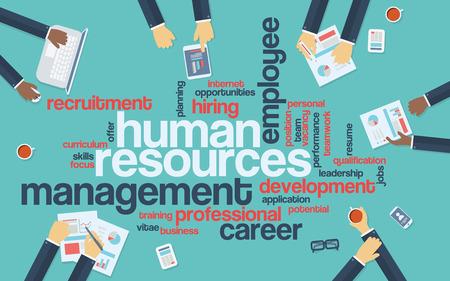 Foto de Human resources flat design infographics with word cloud. Recruitment and career development presentation. Eps10 vector illustration. - Imagen libre de derechos