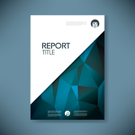 Illustration pour Report cover template with low poly background. Business brochure document layout for company presentations. - image libre de droit