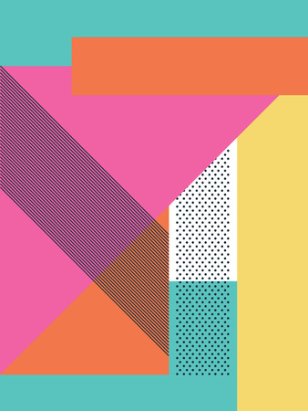 Illustration pour Abstract retro 80s background with geometric shapes and pattern. Material design wallpaper. - image libre de droit