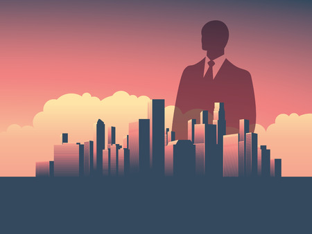 Urban skyline cityscape with businessman standing over. Double exposure illustration landscape background. Symbol of corporate world, banks and business tycoons.