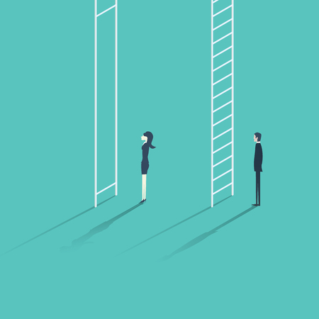 Business woman versus man corporate ladder career concept illustration. Gender inequality issue with different opportunities for males and females.