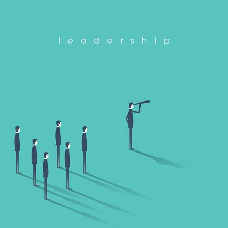Ilustración de Business leadership concept illustration with businessman and telescope leading other men. Vision and success abstract symbol. - Imagen libre de derechos